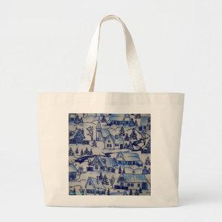 Vintage Christmas Village Merry Xmas Holiday Large Tote Bag