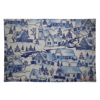 Vintage Christmas Village Merry Xmas Holiday Placemat