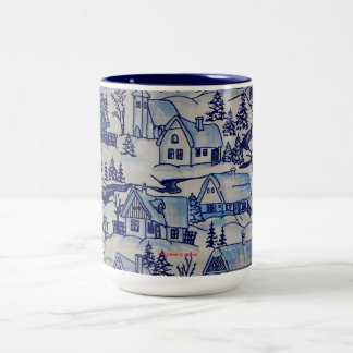 Vintage Christmas Village Merry Xmas Holiday Two-Tone Coffee Mug