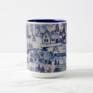 Vintage Christmas Village Merry Xmas Holiday Two-Tone Coffee Mug