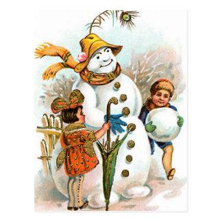 Vintage Christmas Village Snowman Postcard