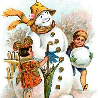Vintage Christmas Village Snowman sticker