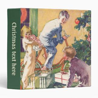 Vintage Christmas, Vintage Children with Presents Vinyl Binders