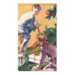 Vintage Christmas, Vintage Children with Presents Business Cards