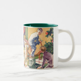 Vintage Christmas, Vintage Children with Presents Two-Tone Coffee Mug