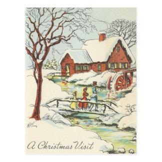 Vintage Christmas Visit Postcard