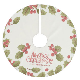 Vintage Christmas Watercolor Holly Leaves Monogram Brushed Polyester Tree Skirt