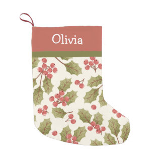 Vintage Christmas Watercolor Holly Leaves Monogram Small Christmas Stocking