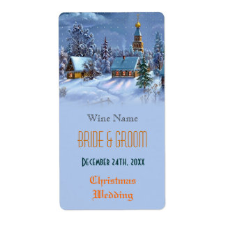 Vintage Christmas wedding wine Personalized Shipping Labels