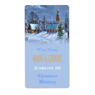 Vintage Christmas wedding wine Personalized Shipping Label