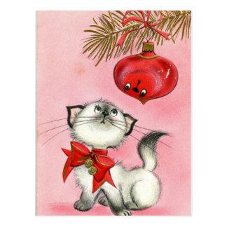 Vintage Christmas White Kitty Postcard