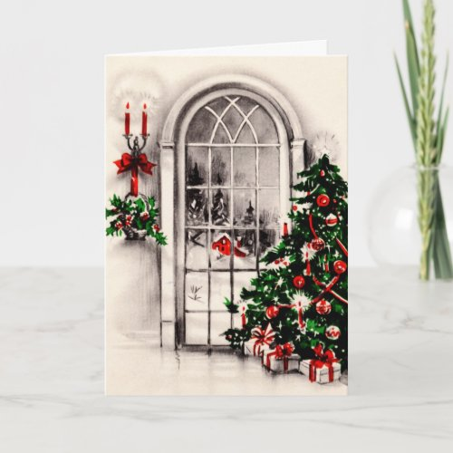 Vintage Christmas Window Greeting Card