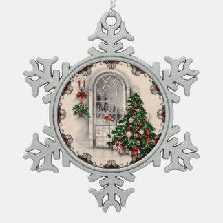 Vintage Christmas Window Lights Snowflake Pewter Christmas Ornament