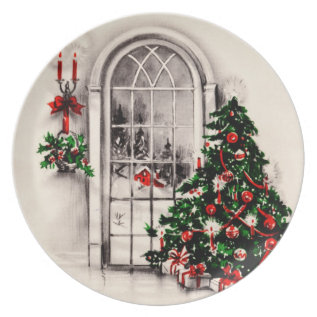 Vintage Christmas Window Plate at Zazzle