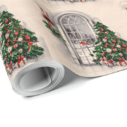 Vintage Christmas Window Wrapping Paper
