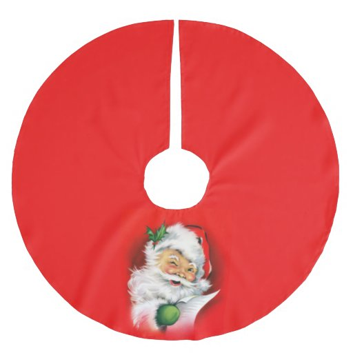 Vintage Christmas Winking Santa Brushed Polyester Tree Skirt