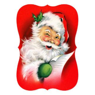 Vintage Christmas Winking Santa Card