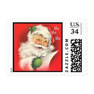 Vintage Christmas Winking Santa Claus - Post Stamp