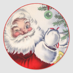 Vintage Christmas Winking Santa Claus Sticker at Zazzle