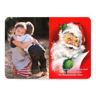 Vintage Christmas Winking Santa Photo Card