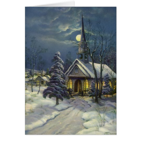 Vintage Christmas, Winter Church in Moonlight Card