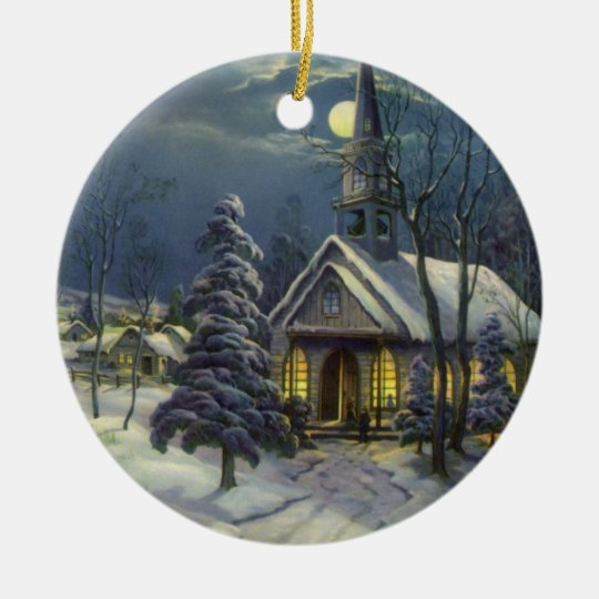 Vintage Christmas, Winter Church in Moonlight Ceramic Ornament