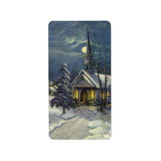 Vintage Christmas, Winter Church in Moonlight Label