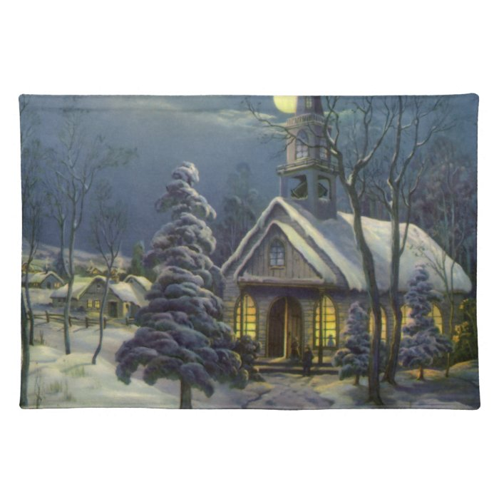 Vintage Christmas, Winter Church in Moonlight Placemat