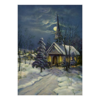 Vintage Christmas, Winter Church in Moonlight Poster