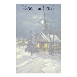 Vintage Christmas, Winter Church in Moonlight Stationery