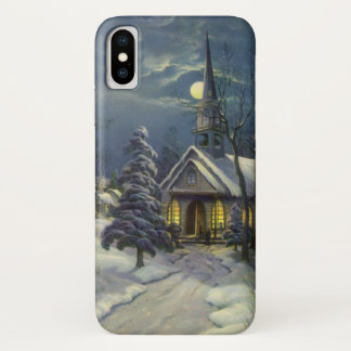 Vintage Christmas, Winter Church in Snow with Moon iPhone X Case