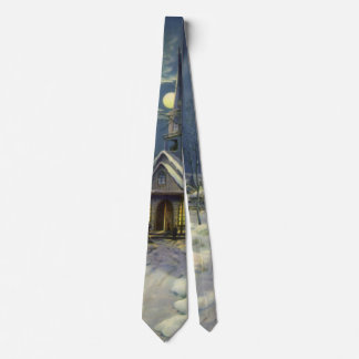 Vintage Christmas, Winter Church in Snow with Moon Neck Tie