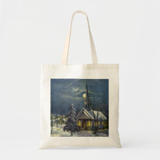 Vintage Christmas, Winter Church in Snow with Moon Tote Bag