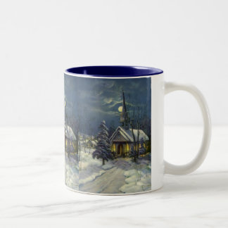 Vintage Christmas, Winter Church in Snow with Moon Two-Tone Coffee Mug