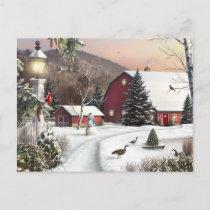 Vintage Christmas Winter Farm Holiday Postcard