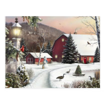 Vintage Christmas Winter Farm Postcard