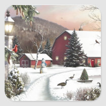 Vintage Christmas Winter Farm Square Sticker