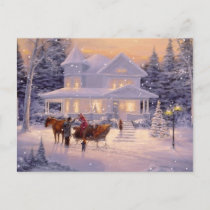 Vintage Christmas Winter House Holiday Postcard