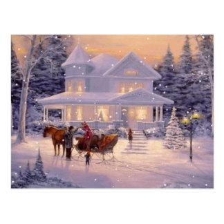 Vintage Christmas Winter House Postcard