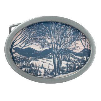 Vintage Christmas, Winter Mountain Landscape Belt Buckle