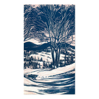 Vintage Christmas, Winter Mountain Landscape Double-Sided Standard Business Cards (Pack Of 100)
