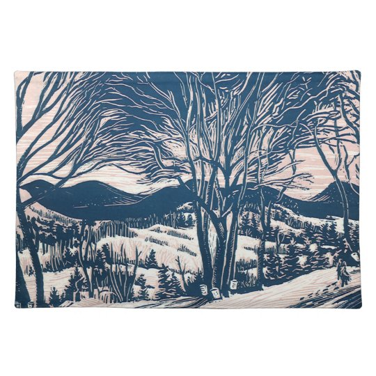 Vintage Christmas, Winter Mountain Landscape Placemat