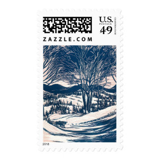 Vintage Christmas, Winter Mountain Landscape Postage