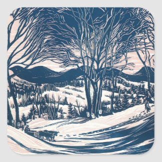 Vintage Christmas, Winter Mountain Landscape Square Sticker