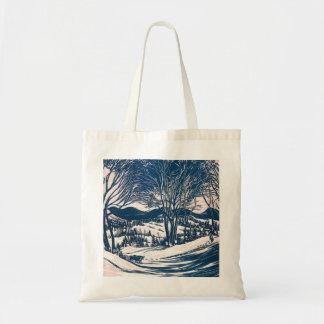 Vintage Christmas, Winter Mountain Landscape Tote Bag