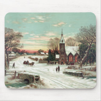 Vintage Christmas Winter Mouse Pad