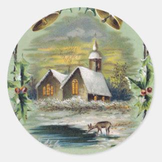 Vintage Christmas Winter Scene Classic Round Sticker
