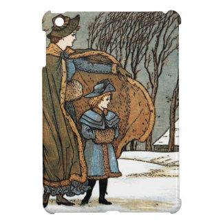 Vintage Christmas Winter Scene, Girls, Bird, Snow. iPad Mini Cases