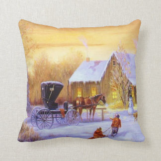 Vintage Christmas Winter  Scene Pillow