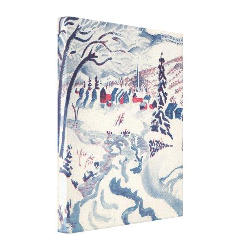 Vintage Christmas, Winter Village Snowscape Gallery Wrap Canvas